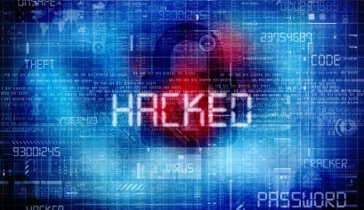 Computer data hacked, bits and digits on blue