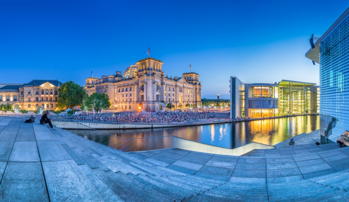 Berlin government district with Reichstag and Paul Lbe Haus at dusk, Germany