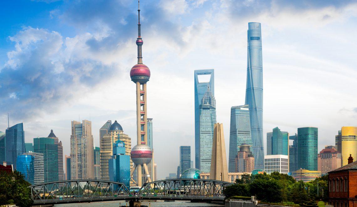 Shanghai skyline with historical Waibaidu bridge, Shanghai, China