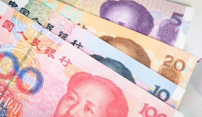 Chinese or Yuan banknotes money  from China's currency, close up
