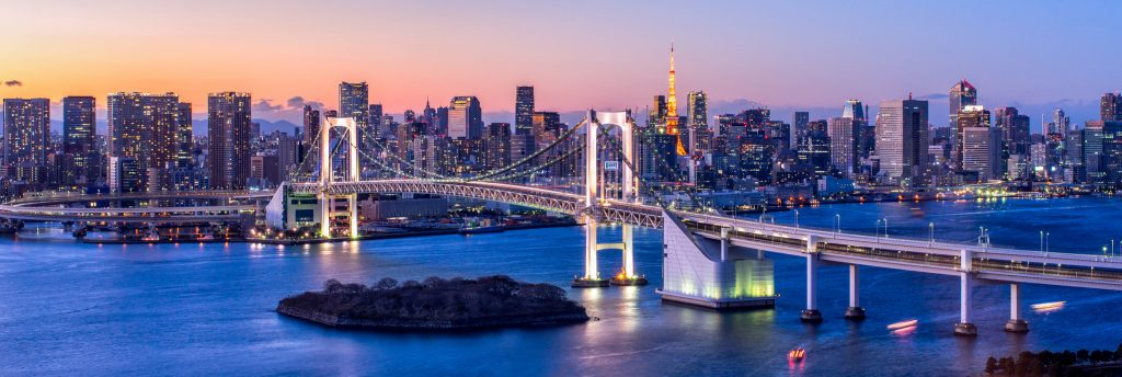 Rainbow Bridge Panorama in Tokyo, Japan