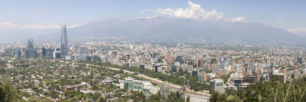 Panoramic view of Santiago de Chile in South America
