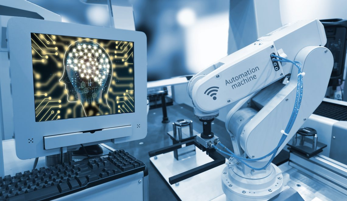 Industry 4.0 , Machine learning and artificial intelligence concept. Computer display illustrative screen and blue tone of automate wireless Robot arm in smart factory background